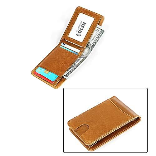 CXD Cartera para Hombre Western Bifold - Bloqueo RFID Cartera de Cuero Genuino Slim Cartera de Bolsillo Frontal con Clip de Dinero - Minimalista (Color : Brown)