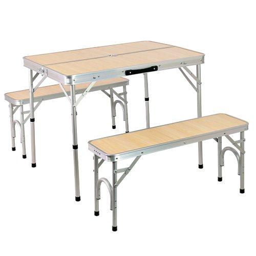 クイックキャンプ 折りたたみ テーブルセット チェア付き アウトドア アルミ ピクニック ナチュラル ALPT-90