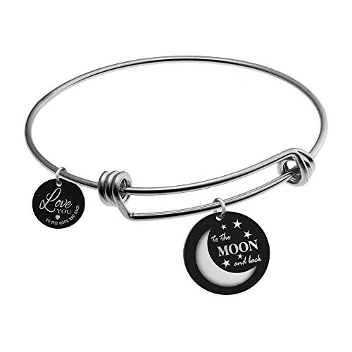 Engraved Love You To The Moon And Back Star Round Disc Charms Love Note Dangle Tag Adjustable Wire Bangles Bracelets For Women Girlfriend Sister Couple Valentines Birthday Disney Memory Gift Box