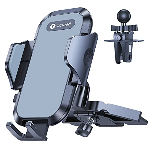 VICSEED 2021 Military-Grade Phone Mount for Car, [Upgrade Anti Shake & Drop] CD Slot & Air Vent Car Phone Holder Mount, Thick Case Friendly Cell Phone Holder Car Fit for iPhone 13 12 11 SE All Phones