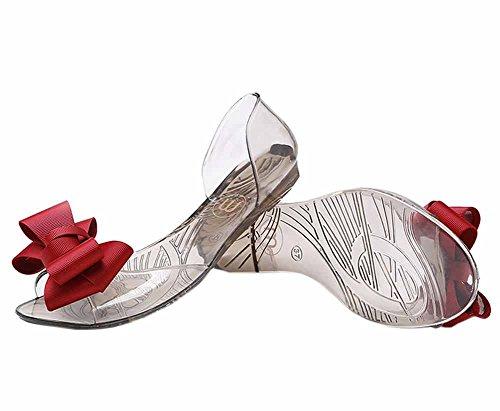 Vokamara Women Ribbon Bow Jelly D'Orsay Flats Slip On Ballet Shoes Red 37