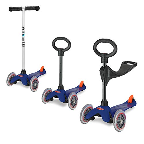 Micro Scooter Mini 3In1 3 Wheel For 3-5 Age With Chromed T-Bar - Blue
