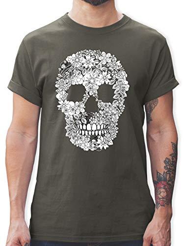 Rockabilly - Totenkopf Blumen Skull Flowers - 3XL - Dunkelgrau - männer Tshirts Totenkopf - L190 - Tshirt Herren und Männer T-Shirts