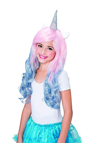 Rainbow Unicorn Ear Horn Wig Halloween Party Cute Cosplay Costume Headpiece for Child Girls Kids - Pink Blue