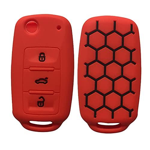 Key Cover For VW Volkwagen Polo Bora Tiguan Passat Golf 6 Lavida Scirocco Car Key Case Shell Cover Auto Accessories Key Holder Red