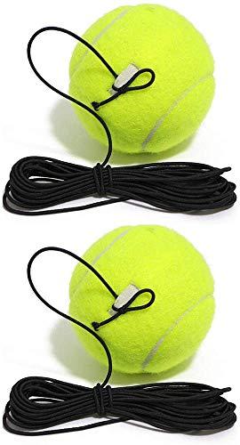 Pelota de tenis animada con cuerda 2 piezas pelota de entrenamiento profesional de auto-estudio práctica de rebote con cuerda para práctica de tenis en interiores y exteriores (verde)