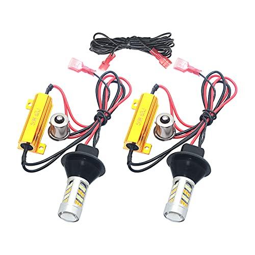 Tira de luz LED Luz de Giro para automóviles 12V Dual Color AUTOMÁTICO LUZ DE LUZ DE LUZ DE LUZ DE LUZ Fog 42 SMD 1156 BA15S BAU15S 7440 T20 LED DRL 2PCS Tira de luz