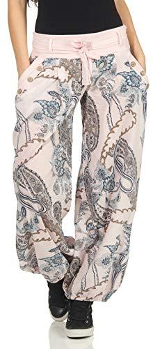 Malito Damen Pumphose mit Print | Bequeme Freizeithose | leichte Stoffhose inkl. Gürtel | Haremshose - lässig 3485 (rosa)
