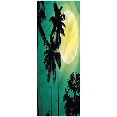 Palm Tree Area Runner Rug, 2'x5', Exotic Dark Rainforest Decorative Runner Rug with Non Slip Backing for Hallway Entry Way Floor Carpet