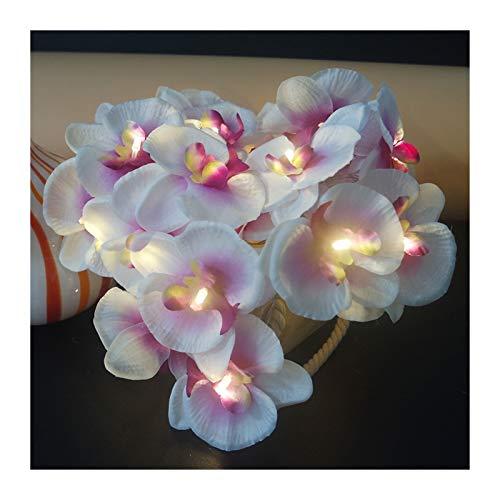 Flor de la orquídea de la orquídea con las bombillas LED de la manera elegante de la flor de la flor Guirnalda impulsada por la batería Artificial Floral Garland Light String para la fiesta de vacacio