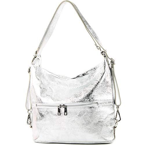 modamoda de - T189 - ital. Damen Rucksack Tasche 2in1 aus Leder, Farbe:Silber