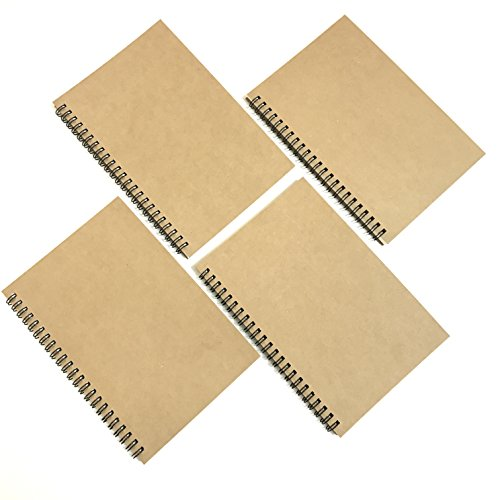 VEEPPO A5 Wirebound Notebooks Bulk Journals Spiral Steno Pads Blank/Lined Kraft Brown Cardboard Cover Thick Cream Writing Pad Sketchbook Scrapbook Album (Blank White Sketch Paper-Pack of 4)