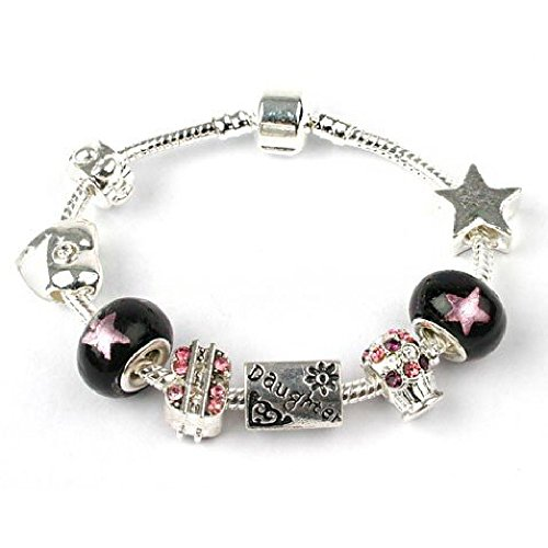 Bling Rocks Liberty Charms Teenager 'Rockstar Deluxe' Daughter Silver Plated Charm/Bead Bracelet. Gift Box & Velvet Pouch. Birthday Present/Gift/Stocking Filler 20cm (Other Ages