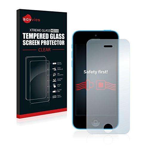 savvies Protector Cristal Templado Compatible con Apple iPhone 5C Protector Pantalla Vidrio, Protección 9H, Pelicula Anti-Huellas