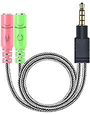 MillSO koptelefoon adapter splitter 3,5 mm audio jack Y-kabel (3.5mm stereo jack naar 2X 3,5 mm aansluiting) voor PC gaming headset (niet voor twee hoofdtelefoons), PS4, Xbox One, smartphones en laptop