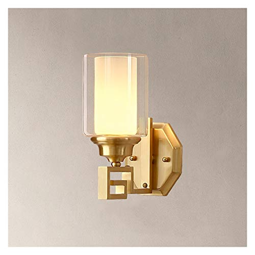 Lámpara de Pared Moderna Para Interior Todas las lámparas de pared chinas de cobre Sala de estar moderna Luz de pared E27 Iluminación interior Pasillo de la escalera simple Lámpara de pared China con