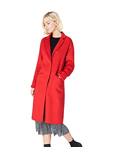 Marca Amazon - find. Abrigo Midi de Corte Recto en Tela Ligera Mujer, Rojo (Red Racing Red), 40, Label: M
