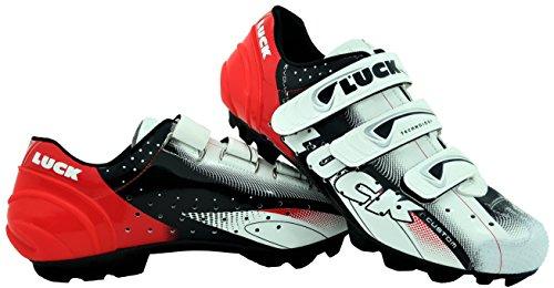 LUCK Zapatillas de Ciclismo Extreme 3.0 MTB,con Suela de Carbono y Triple Tira de Velcro de sujeción ademas de Puntera de Refuerzo. (40 EU, Rojo)