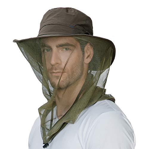 Anti Mosquito Net Fly Fishing Hat Summer Sun UV Exploring Men Nylon Bucket Hiking Boating Gardening Veil Hats ArmyGreen
