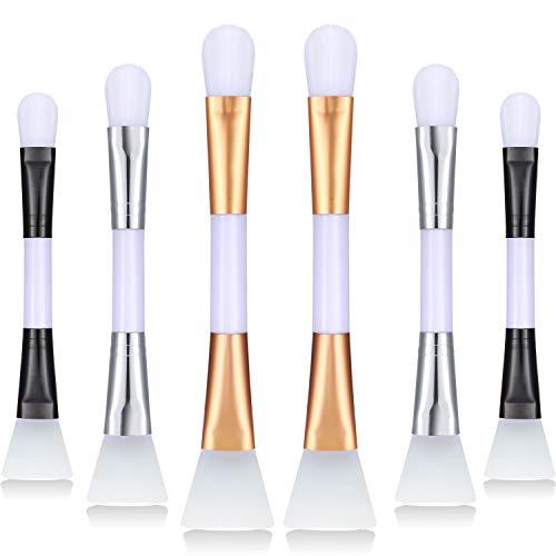 6 Pièces Brosses à Masque de Double Tête Pinceaux de Visage Brosses Doux Anti-Cernes en Silicone Applicateur de Masque de Boue Outil de Beauté Cosmétique pour Maquillage Fond de Teint Crème Boues