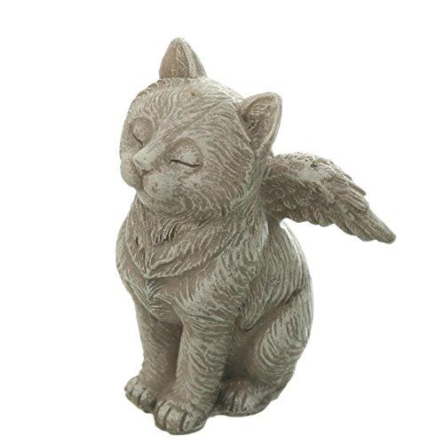Trauer-Shop Kleine Sitzende Engel Katze mit Flügeln. H 9cm. 1 Stück