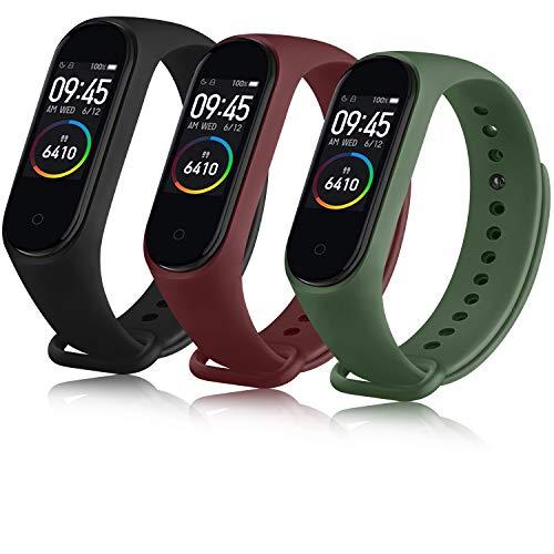 Oumida Correa Compatible con Xiaomi Mi Band 4 Xiaomi Mi Band 3, Pulseras Reloj Recambio Silicona Suave Original para Xiaomi Mi Smart Band 4 (Negro/Vino Rojo/Verde Musgo)