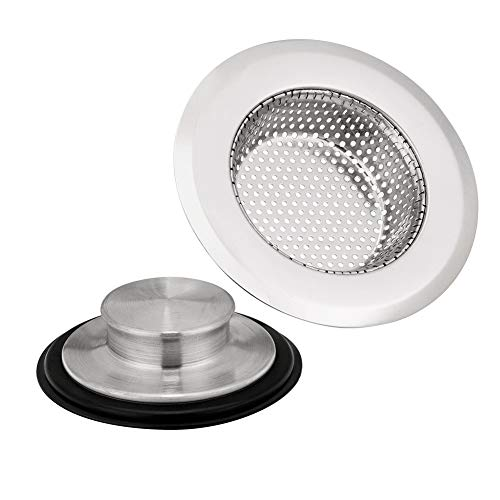 Kitchen Sink Drain Strainers x 1, Anti-Clogging Kitchen Sink Stoppers x 1, BEST HOUSE Stainless Steel Garbage Disposal Sink Plug for Most Drain Standard 3-1/2 Inch