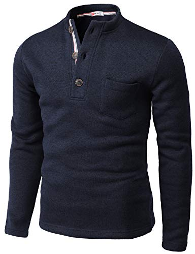 H2H Mens Casual Slim Fit Long Sleeve Henley T Shirts Warm Thermal Navy US L/Asia XL (CMTTL122)