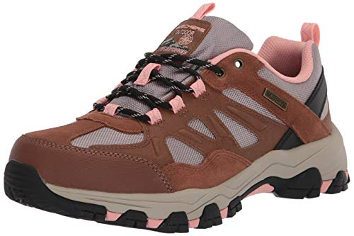Skechers Women's SELMEN-WEST Highland Hiking, Brown Leather/Tan Textile/Light Coral Trim, Numeric_6_Point_5 Wide