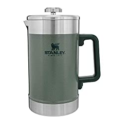 A green Stanley camping coffee pot.