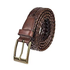 Lace-braided belt featuring integrated notches and single-prong buckle with brass finish 30 mm wide Imported