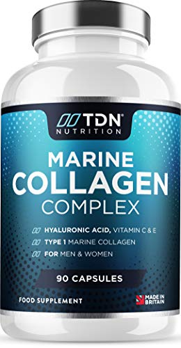 Marine Collagen Capsules 1100mg - 90 Capsules - Type 1 Hydrolysed Peptan Collagen Peptides - Enhanced with Hyaluronic Acid, Aloe Vera, Vitamin C, Vitamin E, B6, B12, D3, Zinc & Selenium - UK Made
