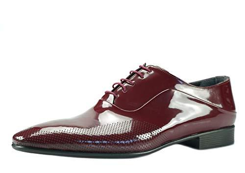 CAPRIUM Lackschuhe Derbyschuhe Schuhe Business Glänzend, Herren E1526 Schuhgröße 43, Farbe Dunkelrot