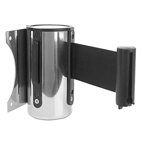 Cinturón de barrera de cola, barrera de montaje en pared, 2/3/5 m montado en la pared, cinturón de seguridad retráctil de acero inoxidable cinta roja barrera para cola de soporte