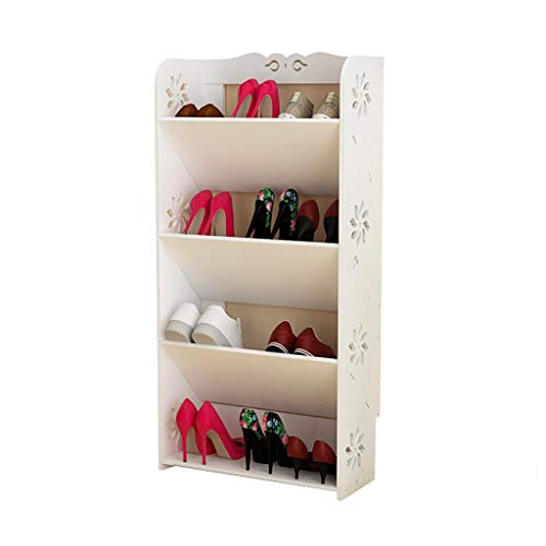 ZAIHW Zapatero Zapatero Simple Zapatero económico de 4 Capas para el hogar Zapatero multifunción Ahorro de Espacio 16 Pares de Zapatos (Blanco) Perchas para Zapatos