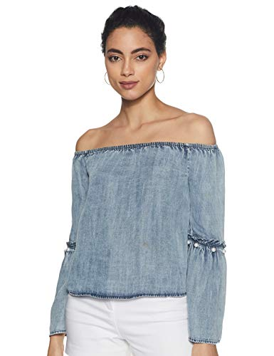 ONLY Damen onlVILDE LS Off Should DNM Blouse BOXQYT Bluse, Blau (Dark Blue Denim Dark Blue Denim), 38