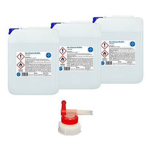 Kamin-Ethanol, 99,98% Alkohol-Gehalt I 3 x 10 Liter I Bioethanol I inkl. 1 x AGH I HERRLAN-Qualität I Made in Germany