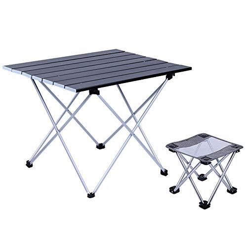 FIONAT Mesa de Camping Plegable con Sillas, Mesa Plegable Compacta en Aluminio, Mesa Escritorio Plegable Ligera con Bolsa, para al Aire Libre, Picnic, Playa, Senderismo, Pesca, 41.2 * 29 * 13CM