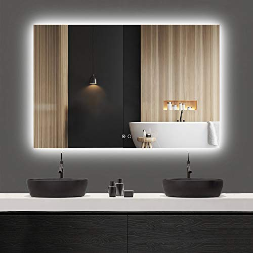 Keonjinn 48 x 32 Inch LED Backlit Mirror Bathroom Vanity Mirror Anti-Fog Wall Mounted Lighted Mirror Large Dimmable Makeup Mirror with Lights (Horizontal/Vertical)