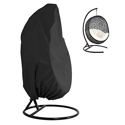 Patio Hanging Chair Cover 420D Oxford Fabric Heavy Duty Waterproof Veranda Patio Cocoon Egg Chair Garden Furniture Protective Cover Water and UV Resistant