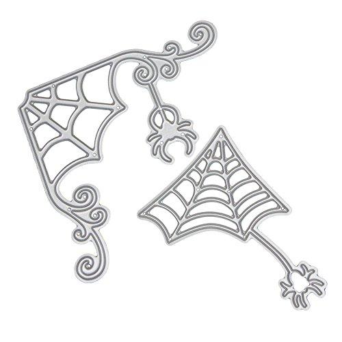 demiawaking Halloween Formen Fledermaus Deko DIY Prägung Scrapbooking Papier Karte Crafts Schablonen Silber Spinnennetz
