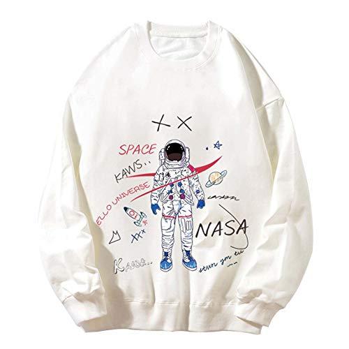 LLGHT NASA Espacial AGENCIA Moda de Moda Camisa de Fondo de Manga Larga Algodón cómodo Ocasional Suelto Salvaje Cuello Redondo Pareja suéter Hombre Casual (Color : White, Size : Medium)