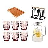 VByge Vasos Cristal Agua Hogar Resistente Al Calor Vasos Cocktail Juego Vasos Chupito Cristal 6 Piezas Set Morado 380ml