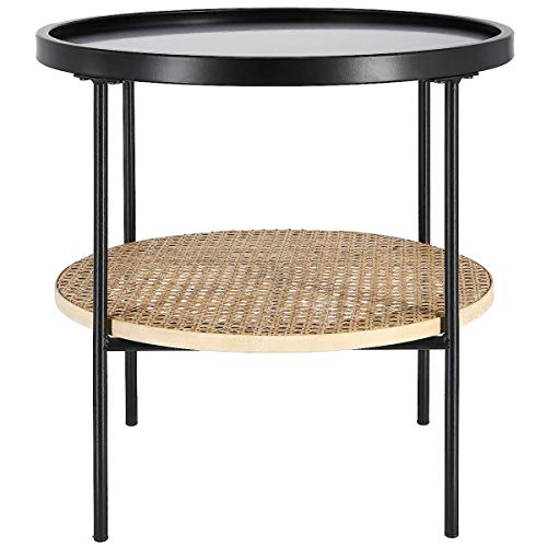 Clas Ohlson  Modern Scandi Style Round Side Table - Black Metal, MDF & Rattan, Diameter 45cm, Coffee Table for Living room, Bedroom, Bedside and Small Spaces