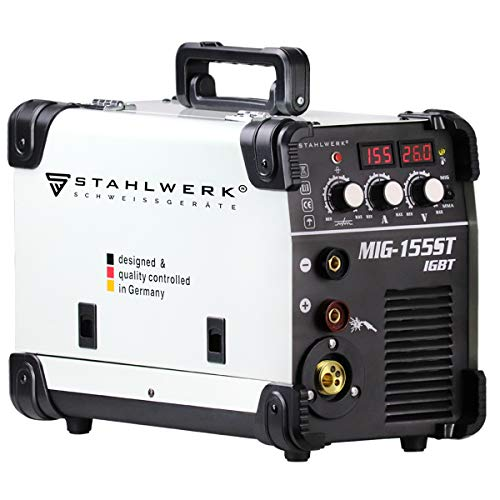 STAHLWERK MIG 155 ST IGBT - MIG MAG Machine à souder au gaz inerte avec 155 A, fil fourré FLUX, avec soudage manuel MMA, blanche, garantie de 7 ans