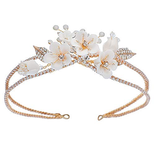 YASE-king Gold Bridal Headband Crystals Rhinestone Headband Flower Girl Wedding Hair Combs Accessories for Brides Bridesmaids