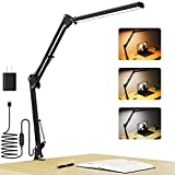 Desk Lamp with Clamp,LED Swing Arm Table Lamps,Blue Light Blocking Dimmable Architect Light,Adjustable 3 Color Temperature,Memory Function Clip on Task Lamp for Home, Office, Dorm, Read, Study, Work