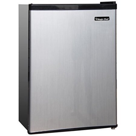 Magic Chef 2.4 cu ft Compact Single Door Refrigerator, Stainless Look