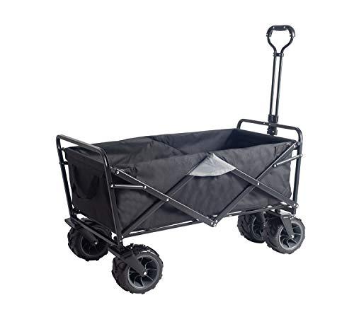 Amazon Brand - Umi Carro de transporte todoterreno carro de mano carro de jardín plegable los neumáticos con rodamiento adecuado para todos los terrenos(Negro/Gris)
