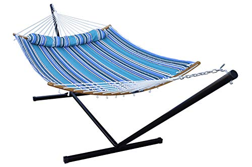 HENG FENG 2 Person Double Hammock with 12 Foot Portable Steel Stand and Curved Bamboo Spreader Bars, Detachable Pillow, Quilted Fabric Bed, Cerulean
